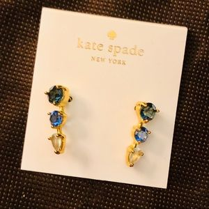 Kate Soade blue gems crawler earrings